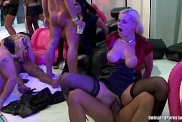 Trashy babes suck and fuck cocks at party 8 min HD