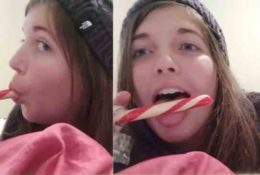 Lisa ASMR Candy Cane Sucking Video!