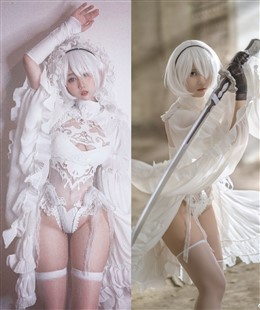 Cosplay Kawaii 2B in White Cosplay In Nier Automata