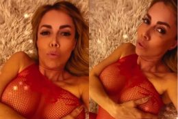 Emanuela Botto Sexy Fishnet Red Lingerie Tease Video